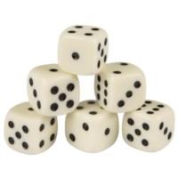 Dobbelstenen | 6 stuks in plastic doosje | 16 mm