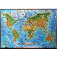 Wereldkaart | Dieren | Geplastificeerd | 137 x 97 cm