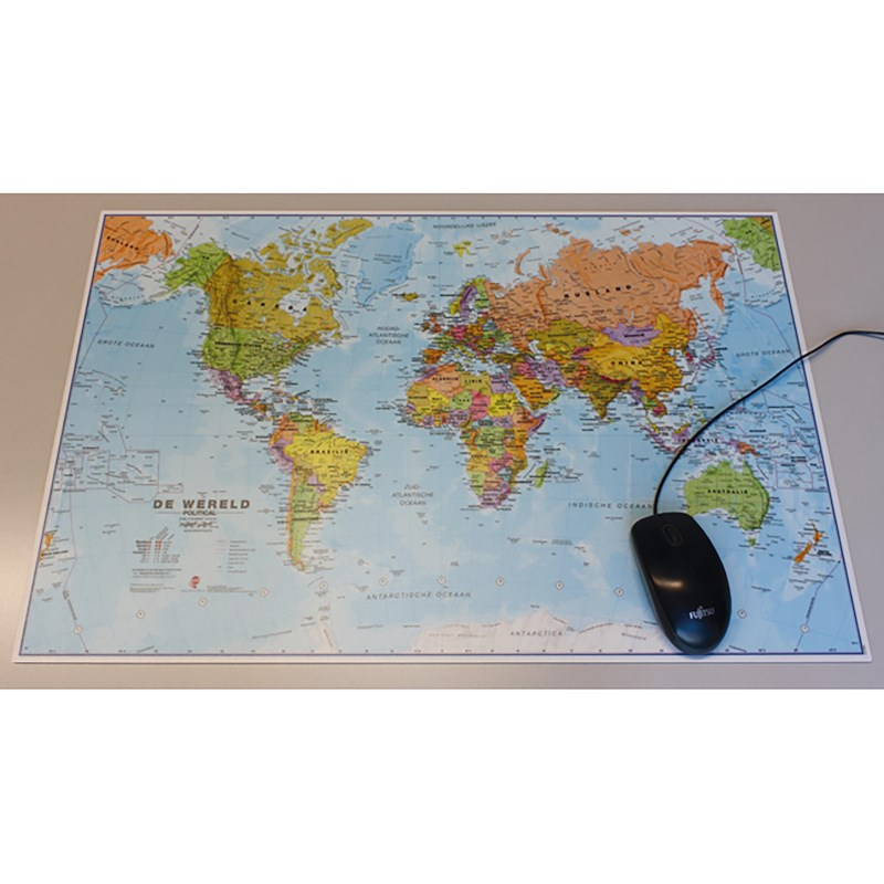 bureau onderlegger | wereldkaart | 66 x 43 cm kopen? | heutink voor