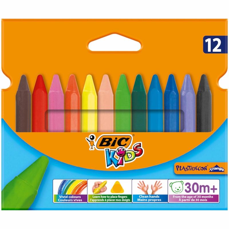 Kleurkrijt   Bic Kids   Plastidecor Triangle   Assortiment   12 stuks