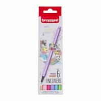 Fineliner | Bruynzeel | Punt 0.4 mm | 6 pastel kleuren