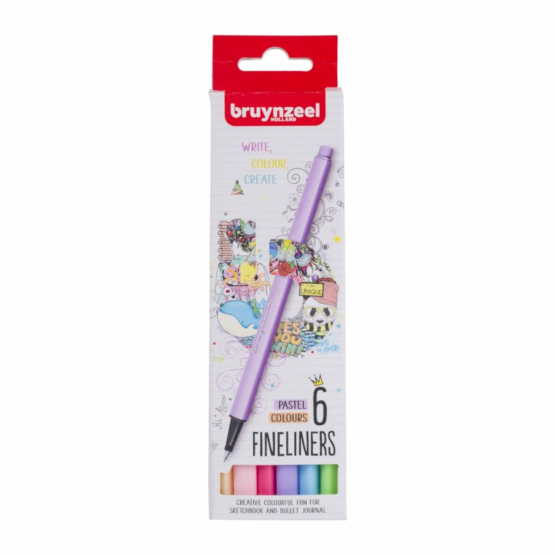 Fineliner   Bruynzeel   Punt 0.4 mm   6 pastel kleuren