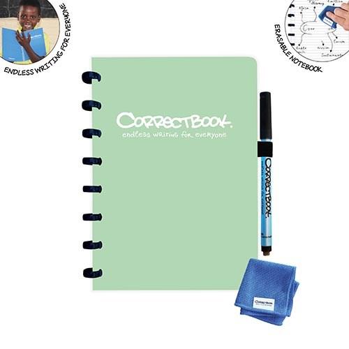 Uitwisbaar notitieboek   Correctbook   Misty mint   A5   Gelinieerd
