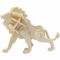 Bouwpakket 3D   Leeuw   Triplex   18,5 x 7 x 7,3 cm