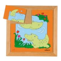 Dierenpuzzel 'Moeder en kind' | Krokodil | 6 stukjes | Educo