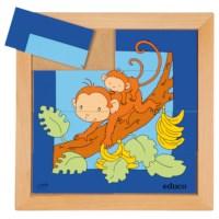 Dierenpuzzel 'Moeder en kind' | Aap | 8 stukjes | Educo