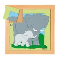 Dierenpuzzel 'Moeder en kind' | Olifant | 9 stukjes | Educo