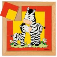 Dierenpuzzel 'Moeder en kind' | Zebra | 9 stukjes | Educo
