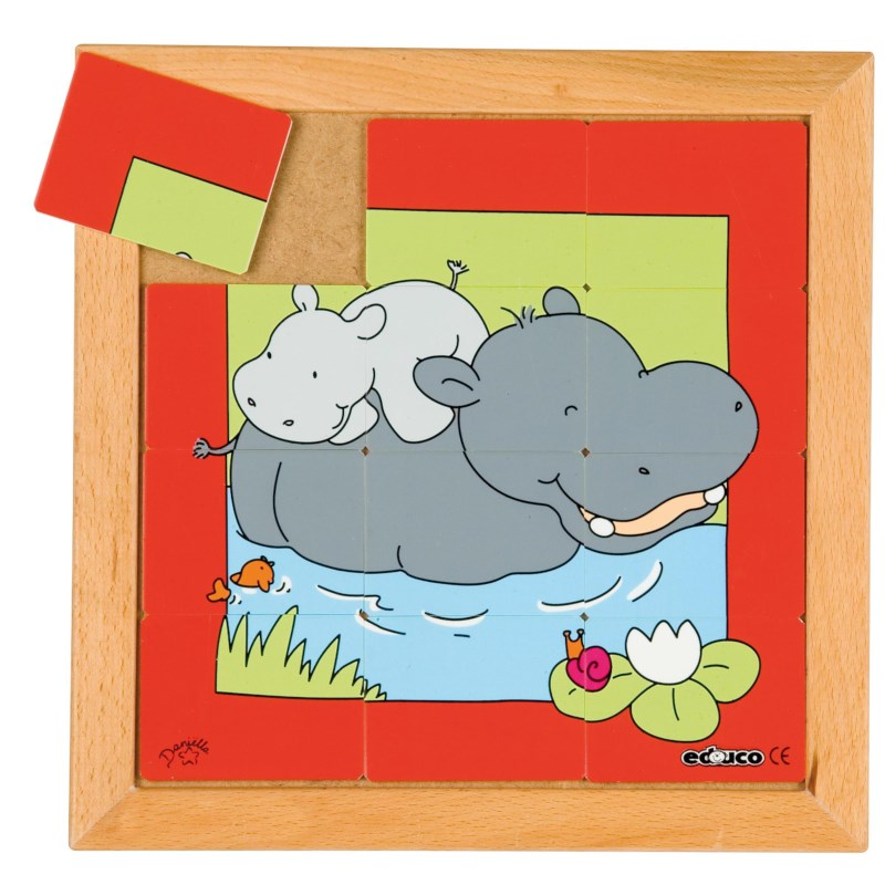Dierenpuzzel 'Moeder en kind' | Nijlpaard | 12 stukjes | Educo