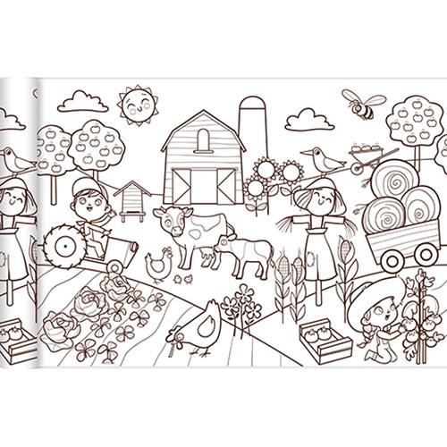 kleurplaat boerderij rol 35 x 500 cm kopen heutink