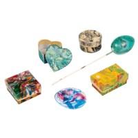Papier-maché doosjes   Set à 12 stuks