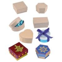 Papier-maché doosjes   Set à 6 stuks