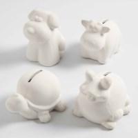 Spaarpot | Wit terracotta | Assorti dieren | 4 stuks