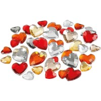 Strass stenen   Harten   6, 10, 14 mm   Rood