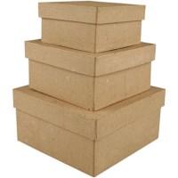 Vierkante dozen | Lengte 10, 12,5, 15 cm