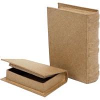 Papier-maché boeken | 6 x 9 x 2 cm | 2 assorti