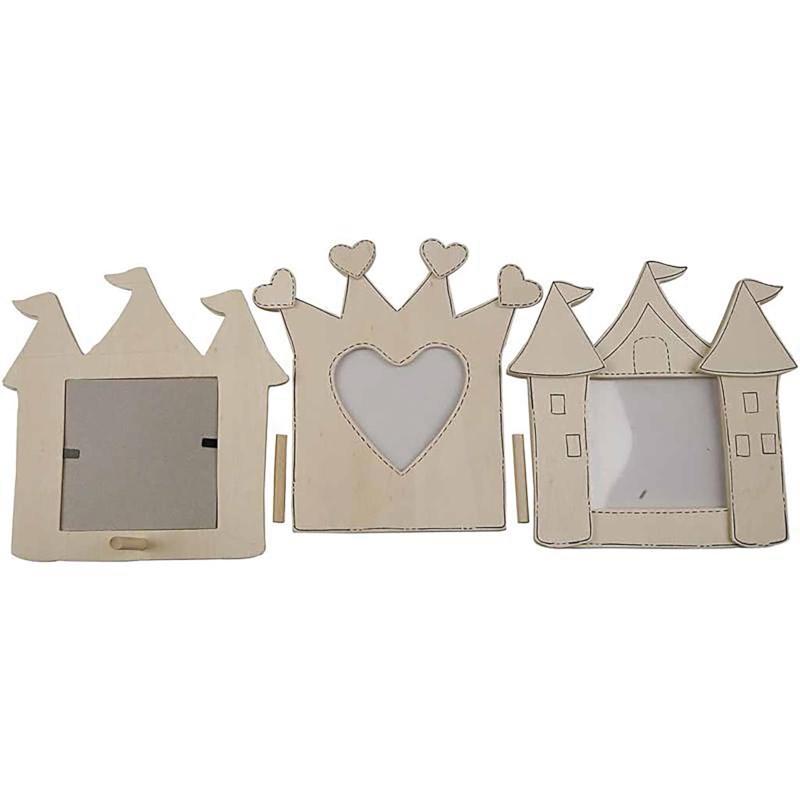 Fotolijst kroon-kasteel | Triplex | 6,5 x 6,5 x 15 cm | Set van 2
