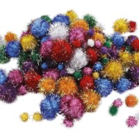 Glitter pompons | Diameter 15 - 40 mm | 75 assorti