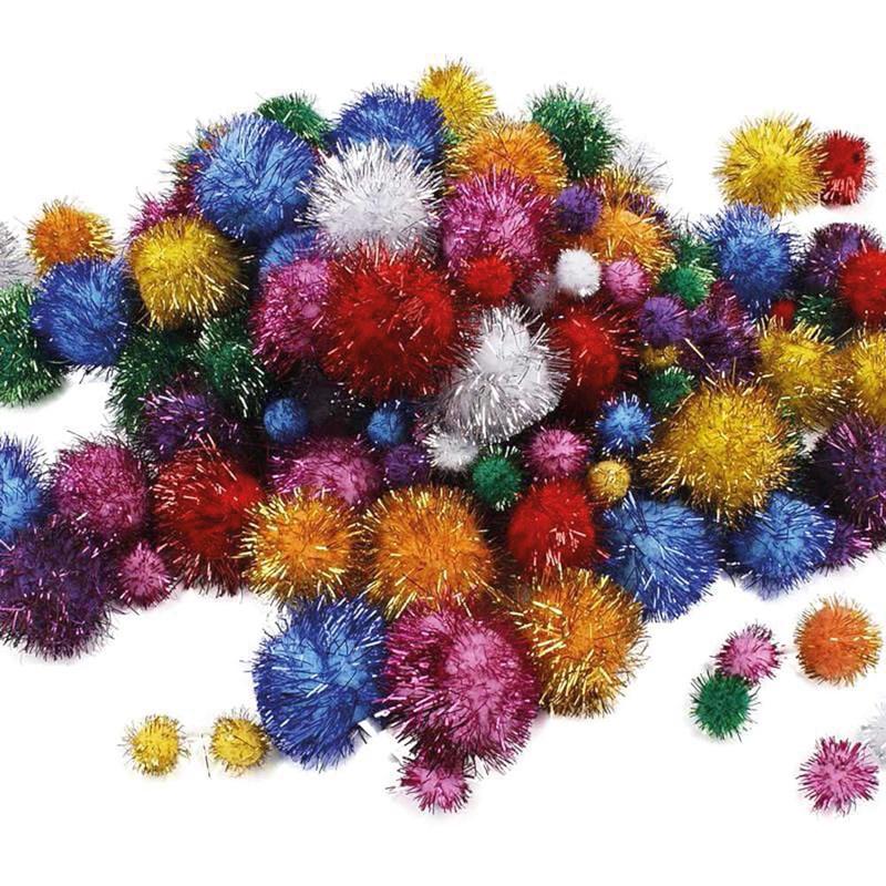 Glitter pompons | Diameter 15 - 40 mm | 75 assorti