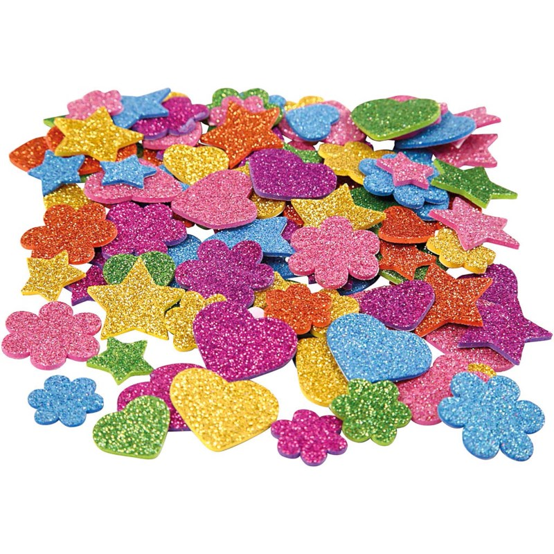 Foam glitter figuren EVA | Assorti | Diameter 19 - 29 mm | 100 stuks