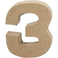 Cijfer 3 | Klein | Hoogte 10 cm | Dikte 2 cm | 1 stuk