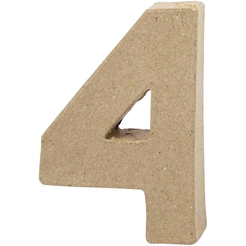 Cijfer 4   Klein   Hoogte 10 cm   Dikte 2 cm   1 stuk
