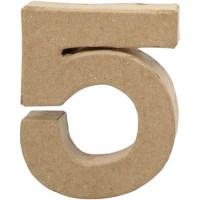 Papier-maché cijfer | 5 | Klein