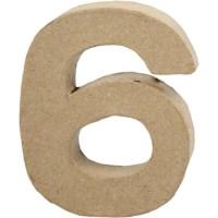 Papier-maché cijfer | 6 | Klein