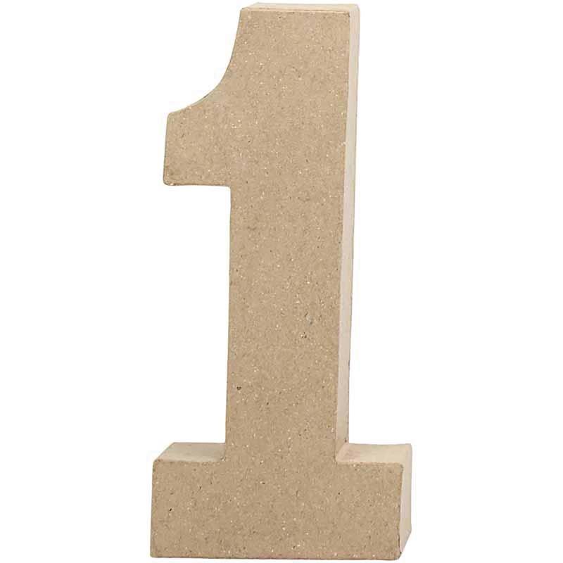 Papier-maché cijfer | 1 | Groot