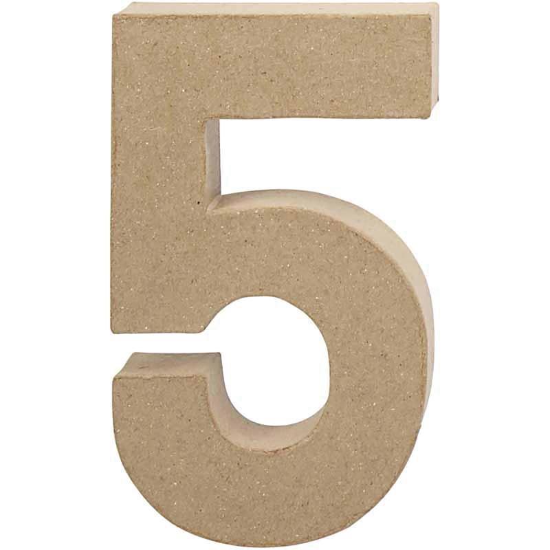 Papier-maché cijfer   5   Groot