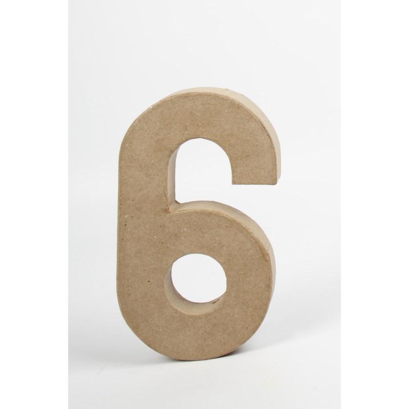 Papier-maché cijfer | 6 | Groot