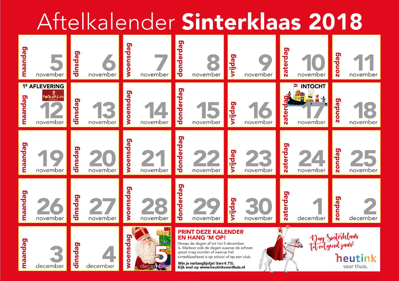 Favoriete Gratis aftelkalender voor Sinterklaas &QP19