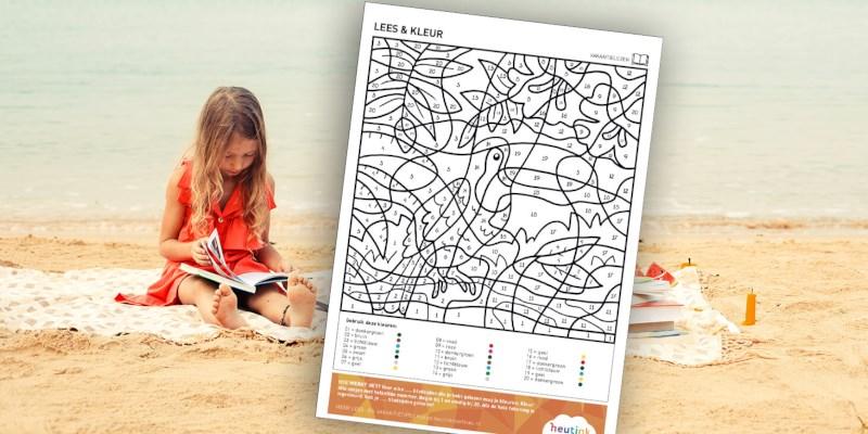 Vakantielezen-doeblad: Lees en kleur